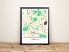 Framed Map Poster of Rome Italy - Simple Colorful