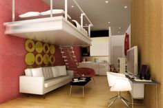 Pink and wood paneled walls, white loft bed- So cool! looks like a european loft!