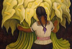 Diego Rivera - The Flower Vendor (Girl with Lilies) 1941 at the Norton Simon Museum in Pasedena, CA Diego Rivera Mural, Diego Rivera Frida Kahlo, Frida And Diego, Mexican Paper Flowers, Philippe De Champaigne, Norton Simon, Art Moderne, Mexican Folk Art, Love Art