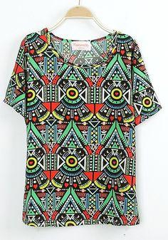 Multicolor Geometric Round Neck Short Sleeve Chiffon T-shirt