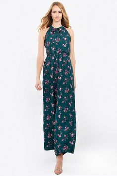 66edb778d9f Floral print sleeveless jumpsuit with a bow tie around the neck- Stretch  band at waist- Lined- Color  Jade Multi