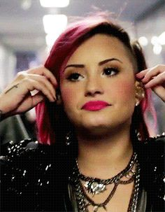 Demi getting ready for a concert