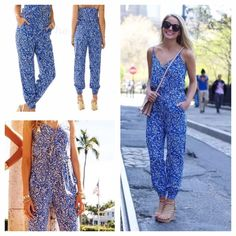 Lilly Pulitzer NWT Melba Jumpsuit Lg blue white Blue hues scream summer! Lily Pulitzer size large approx a 12.  I attached a photo of their sizing chart.  Spaghetti straps that adjust, pockets and gather at the ankles.  NWT $188 Lilly Pulitzer Pants Jumpsuits & Rompers