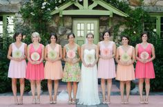 Honeysuckle, Petal, and Peach Fuzz bridesmaid dresses