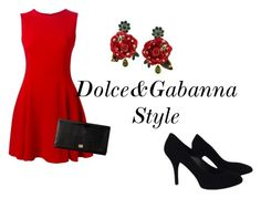 """dolce&Gabanna Red and Black Style"" by zeyra-diiaz ❤ liked on Polyvore featuring Dolce&Gabbana"