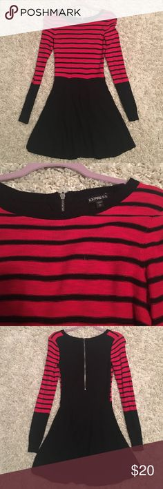 Red and Black Striped Dress Red and Black Striped Dress. In excellent condition. Size: Small; 66% Cotton 34% Rayon Express Dresses