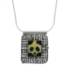 Sterling Silver Fossilized Walrus Ivory Panda Locket and Chain Necklace by Zealandia