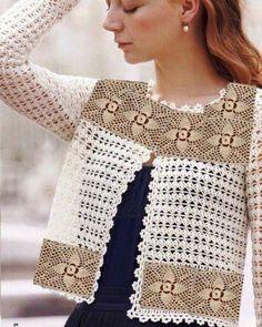 Fabulous Crochet a Little Black Crochet Dress Ideas. Georgeous Crochet a Little Black Crochet Dress Ideas. Crochet Bolero Pattern, Gilet Crochet, Crochet Coat, Crochet Jacket, Freeform Crochet, Crochet Blouse, Crochet Clothes, Crochet Shrugs, Jacket Pattern