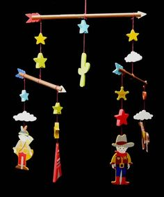 Wooden Cowboy Mobile by Vintage Style for the Kids on #zulilyUK today!    Great accessories for my sons cowboy themed room!