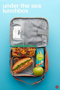 Surprise your little matey this school year with a lunchbox packed with under the sea themed eats. Start with a sub sandwich using a straw as the periscope. Up your apple game with a little sail detail. Then, pack some gone fishin' snack mix with fish crackers, gummy worms and more. Total lunch bag bragging rights with this kid-friendly idea.