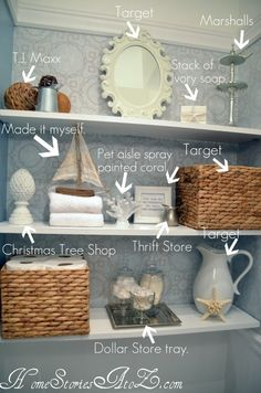 A few ideas for decorative items on open bathroom shelves