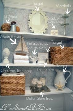 A few ideas for decorative items on open bathroom shelves