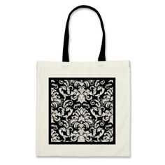 Vintage Damask in White and Black Canvas Bag