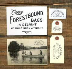 wedding branding inspiration postcard + bag tags + retro print :: Forestbound branding ::