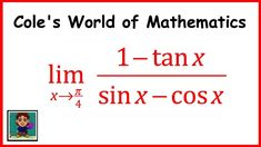 Limit of (1 -  tan x)/(sin x - cos x) ❖ Calculus 1 ❖ Trig Limits