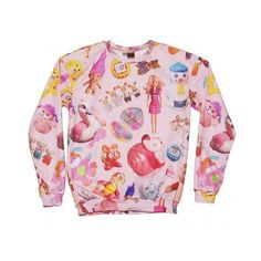 EXCLUSIVE All Over Print Vintage Toys Jumper from Mr Gugu And Miss Go ($62) ❤ liked on Polyvore featuring tops, sweaters, shirts, jumpers, vintage jumper, pink top, pink sweater, vintage shirts and all-over print shirts