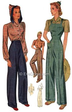 1940 Ladies' Hooded Blouse, Wide Leg Trousers and Overalls
