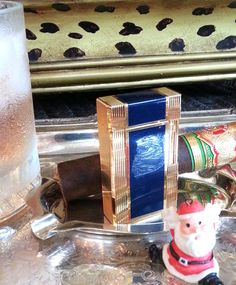S. T. Dupont Lighter ~ WINDSOR ~ Gold & Lacquer de Chine Midnight Blue…