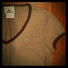 Brown striped Lacoste v neck t shirt Trimmed with brown at the sleeves and around neckline. Lacoste Tops