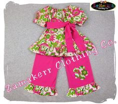 Custom Boutique Baby Girl Clothing Floral Peasant Top Pink Ruffle Pant Bottom Outfit Set 3 6 9 12 18 24 month size 2T 2 3T 3 4T 4 5T 5 6 7 8. For 42.50, via Etsy.