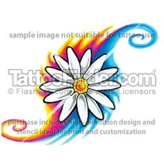 Tie Dye Daisy tattoo design by Ken Ican