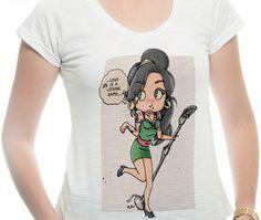 Batinha Flamê na cor Branco - Ilustração Betty Winehouse por Thiago Wendhausen da Rosa