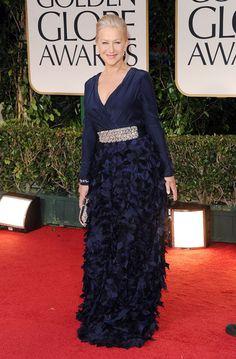 Helen Mirren Evening Dress - Helen Mirren looked fabu in a navy evening dress with a bejeweled waistline and skirt textured with petals.
