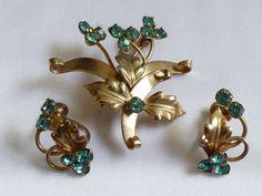 VTG Floral silver tone Blue crystal Pin Brooch & screw clip on Earrings set | eBay