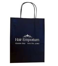 Hair Emporium - Tinted Paper Shopping Bag hot stamped http://actionbag.com/tinted-shopping-bags/p/TR50308/