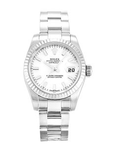 This is a pre-owned Rolex Datejust Lady 179174. It has a 26mm Steel Case & White Gold Bezel, a White Baton dial, a Steel (Oyster) bracelet, and is powered by an Automatic movement.