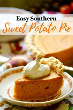 """Easy Southern Sweet Potato pie tastes like a cool crisp Fall day, warm pungent spices, and Thanksgiving dinner all wrapped up in one delicious and decadent bite. This easy """"soul food"""" from scratch recipe includes sweetened condensed milk and baked sweet p Easy Pie Recipes, Sweet Potato Recipes, Dessert Recipes, Cooking Recipes, Pie Dessert, Easy Sweet Potato Pie, Southern Sweet Potato Pie, Homemade Sweet Potatoe Pie Recipe, Pumpkin Recipes"""