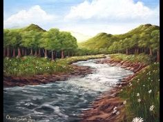 Painter In You - Acrylic Landscape Painting Lesson - Mountain Meadow River - Full Tutorial - YouTube