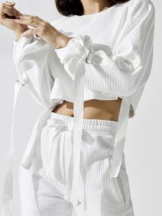 Utilitarian Crew Long Sleeve Tees in White Retro Outfits, Cute Outfits, Fashion Details, Fashion Design, Prom Dress Shopping, High Fashion, Womens Fashion, Knitwear Fashion, Swagg