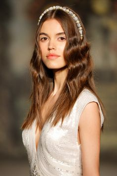 Beachy waves and a pearl headband at the Jenny Packham Bridal Spring 2016 show // Wedding Hair and Makeup Ideas From Bridal Fashion Week