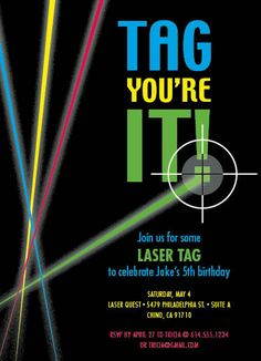 Lasers shooting through the dark tag you in green for a boys birthday bash!