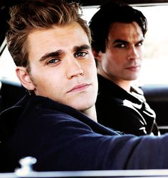 Paul Wesley, Ian Somerhalder. Paul can get out of the car and let me ride!