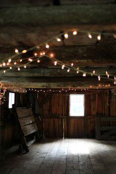interior: refurbished shed, strings of lights, mood light
