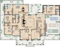 Country Style House Plans - 3388 Square Foot Home , 1 Story, 4 Bedroom and 4 Bath, 3 Garage Stalls by Monster House Plans - Plan 18-487 by socorro