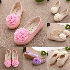 Bebé Niña Zapatos Suave Flores Pisos Suela Caucho Zapatillas Princesa Nuevo