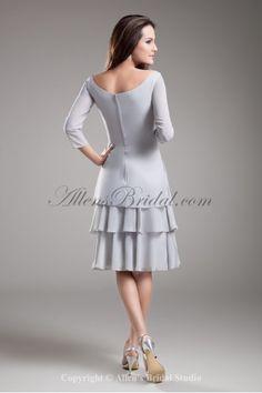 Chiffon Scoop Neckline Knee Length Column Three-quarter Sleeves Cocktail Dress