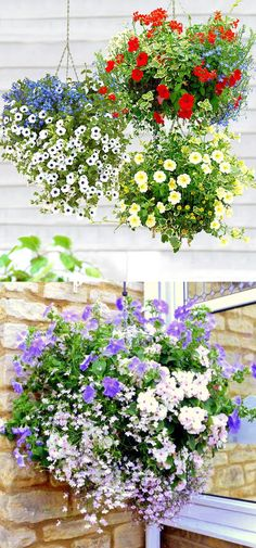 How to Plant Beautiful Flower Hanging Baskets ( & Best Hanging basket plants ) - A Piece Of Rainbow 15 beautiful hanging baskets with complete plant lists for each! Best hanging basket plants for sun or shade, & tips on growing hanging plants & flowers. Hanging Plants Outdoor, Plants For Hanging Baskets, Patio Plants, Hanging Flowers, Diy Hanging, Shade Plants, Cool Plants, Petunia Hanging Baskets, Backyard Shade