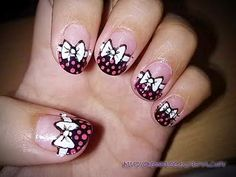 White Bow Nail Art