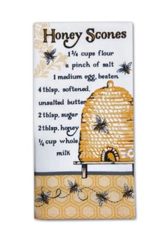 Style and function are combined in this Kay Dee Designs Honey Scones Recipe flour sack towel. This cotton towel features a whimsical print with a honey scones recipe and is absorbent for easy clean up. Honey Recipes, Old Recipes, Vintage Recipes, Baking Recipes, Dessert Recipes, Irish Recipes, Baking Ideas, Italian Recipes, Bread Recipes