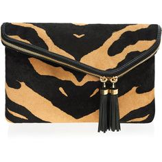 Henri Bendel Debutante Haircalf Convertible Clutch (€205) ❤ liked on Polyvore featuring bags, handbags, clutches, brown multi, pochette, convertible clutch, foldover clutches, calf hair purse and brown purse