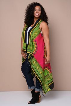e237318bb72 New One Size Green Dashiki African Tribal Print Long Scarf Vest With Fringe   FabulouslyDressedBoutique