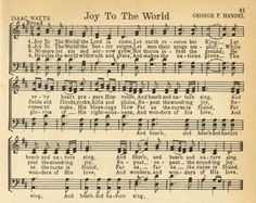 Joy To the World antique Christmas song page | Printable Christmas Music antique pages | www.knickoftime.net