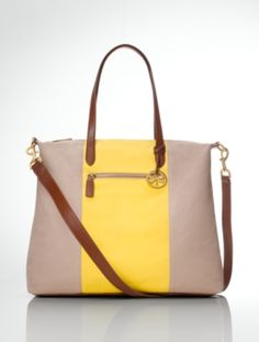 Talbots - Striped Canvas & Leather Tote  |  |