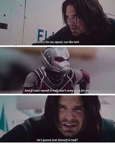 I love they all just kind of accept each of the other's quirks because they all (for the most part) know each other and have seen each other in action. And then here comes Bucky, who has been kept so apart from humanity for so long, and he just has no idea how to deal with these people. So he looks at Steve and he's like what? Because Steve is the only one he knows how to handle and trusts wholeheartedly. But he's trying, and this is why we love Bucky so much.