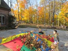 Tossing the leaves into the air - love this - would add little rakes so that…