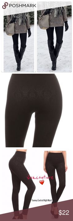 New Black Fleece Lined Leggings Fleece lined textured damask print leggings high waist nwt osfm will fit size small through 14. Great amount of stretch cozy and perfect with tunics / sweaters. Size breakdown is for search purposes only🙏🏻 Vivacouture Pants Leggings